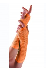 Orange Fishnet Gloves Fingerless Wrist Length 70s 80s Women's Neon Accessories