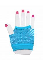 Light Blue Fishnet Gloves Fingerless Wrist Length 70s 80s Women's Neon Accessories lx3007-10