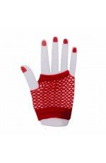 Red Fishnet Gloves Fingerless Wrist Length 70s 80s Women's Neon Party Dance