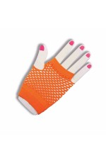 Orange Fishnet Gloves Fingerless Wrist Length 70s 80s Women's Neon Party Dance