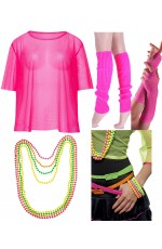 Pink Neon Fishnet Vest Top T-Shirt 1980s Costume Beaded Necklace Bracelet legwarmers gloves