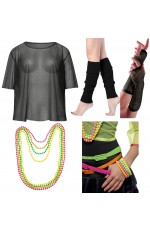 Black Neon Fishnet Vest Top T-Shirt 1980s Costume  Plus Beaded Necklace Bracelet legwarmers gloves