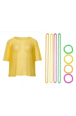 Yellow Neon Fishnet Vest Top T-Shirt 1980s Costume Plus Beaded Necklace Bracelet