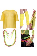 Yellow Neon Fishnet Vest Top T-Shirt 1980s Costume Plus Beaded Necklace Bracelet legwarmers gloves
