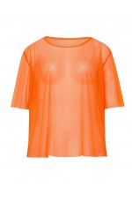 Orange Neon Fishnet Vest Top T-Shirt 1980s Costume