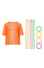 Orange Neon Fishnet Vest Top T-Shirt 1980s Costume  Plus Beaded Necklace Bracelet