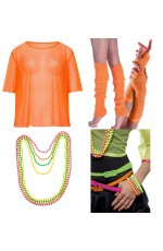 Orange Neon Fishnet Vest Top T-Shirt 1980s Costume  Plus Beaded Necklace Bracelet legwarmers gloves