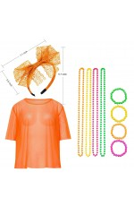 Orange Neon Fishnet Vest Top Set