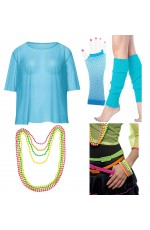 Blue Neon Fishnet Vest Top T-Shirt 1980s Costume Plus Beaded Necklace Bracelet legwarmers gloves