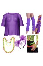 Purple Neon 1980s Costume