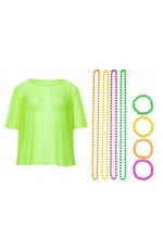 Green Neon Fishnet Vest Top T-Shirt 1980s Costume Plus Beaded Necklace Bracelet