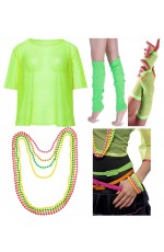 Green Neon Fishnet Vest Top T-Shirt 1980s Costume Plus Beaded Necklace Bracelet legwarmers gloves