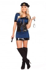 Navy Blue Police Cops Uniform Fancy Dress Costume