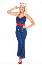 Ladies Navy Sailor Pin Up Rockabilly Captain Fancy Dress Costume