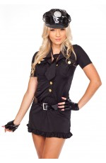 Ladies Woman Black Cop Police Uniform Party Fancy Dress Costume Outfit