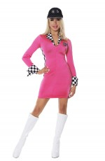 Ladies Racer Racing Driver Uniform Fancy Dress Costume