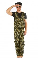 Men's Khaki Camo Army Soldier Fancy Dress Costume