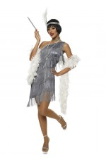 1920 flapper costumes Australia - 1920s Charleston Grey Flapper Costume