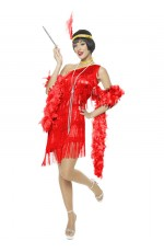 Ladies 1920s Flapper Red Costume