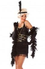 1920s Charleston Black Flapper Fancy Dress Costume + Feather Boa, Headband