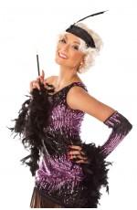 1920s Charleston Black Purple Flapper Fancy Dress Costume Feather Boa, Headband