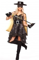 Ladies Luxury Zorro Black Halloween Fancy Dress Costume