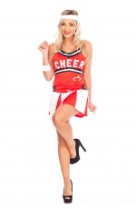 Ladies Cheerleader School Girl Uniform Fancy Dress Costume