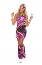 Ladies 60s 70s Retro Hippie Go Go Girl Disco Costume