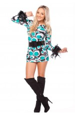 Ladies 60s 70s Disco Retro Hippie Party Dress Costume