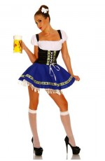 Ladies Beer Maid Costume Wench German Heidi Oktoberfest Gretchen Fancy Dress