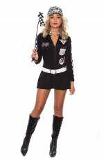 Black Sexy Miss Indy Super Car Racer Driver Costume