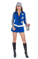 Blue Sexy Miss Indy Racing Sport Driver Grid Girl Costume