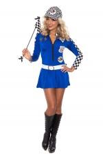 Blue Ladies Sexy Racing Car Driver Uniform Costume