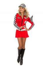 Red Sexy Miss Indy Super Car Racer Racing Sport Driver Super Car Grid Girl Fancy Costume Outfit