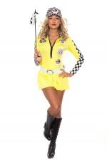 Yellow Ladies Sexy Racing Car Driver Uniform Costume