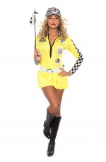 Yellow Sexy Miss Indy Super Car Racer Racing Sport Driver Super Car Grid Girl Fancy Costume Outfit
