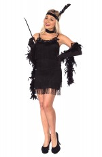 Ladies 1920s 20s Black Chicago Flapper Costume Party Fancy Dress