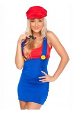 Ladies Mario Plumber Costume RED