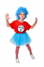 Kids Dr Seuss Thing 1 and Thing 2 Costume + Wig + TuTu + Pantyhose