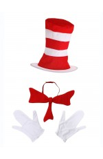 Adult Stripe Cat in the Hat Bow Tie Gloves Accessories Book Week Dr Seuss