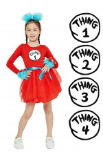 Girls Dr Seuss Cat In The Hat Thing Costume set