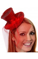 RED Fever Mini Top Hat on Clip Ladies Mini Glitter Top Hat