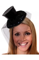 Black Fever Mini Top Hat on Clip Ladies Mini Glitter Top Hat