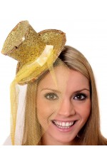 GOLD Fever Mini Top Hat on Clip Ladies Mini Glitter Top Hat