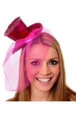 HOT PINK Fever Mini Top Hat on Clip Ladies Mini Glitter Top Hat