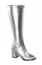 Ladies Go Go Silver Knee High Wide fit Adult Women Boots Shoes Hippy 60 70 Disco