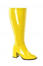 Ladies Go Go Yellow Knee High Wide fit Adult Women Boots Shoes Hippy 60 70 Disco