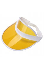 cfb10b86b3c Yellow Unisex Sun Visor Cap Golf Fancy Dress Colour Stretch Poker 80 s Rave  Headband casino visors