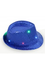 Kids LED Light Up Flashing Sequin Costume Party Night Cap Disco Hip-hop Trilby Fedora Hat