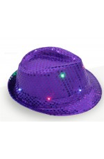 Adults Purple LED Light Up Flashing Sequin Costume Hat
